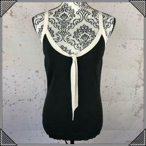 * Ann Taylor Tank Top Shirt Black * Tie Sleeveless